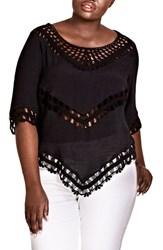 City Chic Plus Size Sweet Vibe Crochet Top Black