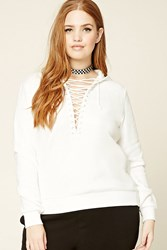Forever 21 Plus Size Lace Up Fleece Hoodie