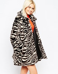 Monki Printed Faux Fur Coat Yellow