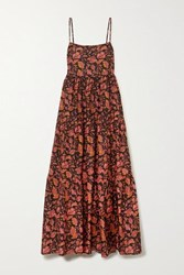 Matteau Open Back Tiered Floral Print Cotton Poplin Maxi Dress Claret