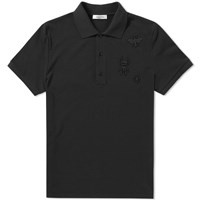 Valentino Embroidered Insect Polo Black