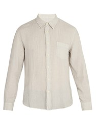 120 Lino Long Sleeved Linen Shirt Light Grey