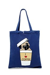 Forever 21 Coffee Pug Graphic Tote Navy Multi