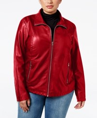 Kenneth Cole Plus Size Faux Leather Bomber Jacket Lipstick Red