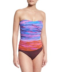 Gottex Horizon Printed Bandeau One Piece Swimsuit Multi