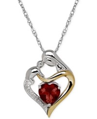 Macy's Garnet 1 5 8 Ct. T.W. And Diamond Accent Mother And Child Pendant Necklace In Sterling Silver And 14K Gold