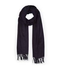 Reiss Temple Oversized Fringed Scarf In Blue Womens