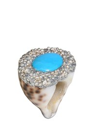Mesi Jilly Cowrie Shell W Turquoise Capri Ring