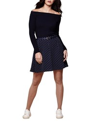 Yumi Anchor Print Skater Skirt Dark Blue