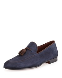 Magnanni Suede Tassel Slip On Loafer Navy