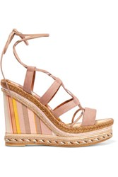 Valentino Suede And Striped Canvas Espadrille Wedge Sandals Taupe