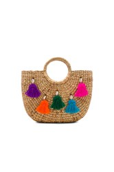 Jadetribe Mini Tassel Small Basket Beige