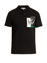 Mcq By Alexander Mcqueen Masai Fair Isle Swallow Print Cotton Polo Shirt Black