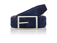 Simonnot Godard Men's Reversible Suede And Knit Belt Navy