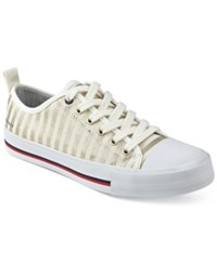Tommy Hilfiger Tayla Lace Up Sneakers Women's Shoes Gold Stripe