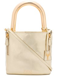 Savas Lucchetto Tote Women Calf Leather Metal Other One Size Metallic