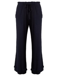 Raquel Allegra Wide Leg Cropped Crepe Trousers Navy