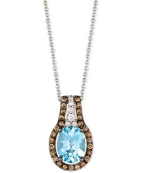Le Vian Chocolatier Aquamarine 1 3 8 Ct. T.W. And Diamond 3 8 Ct. T.W. Halo Pendant Necklace In 14K White Gold