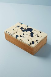 Anthropologie Marbled Teak Wood Box Blue
