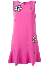 Moschino Floral Applique Dress Pink Purple