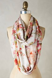 Anthropologie Rose Brushstroke Infinity Scarf Red Motif