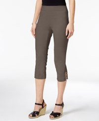 Jm Collection Petite Lattice Hem Capri Pants Only At Macy's Brown Clay