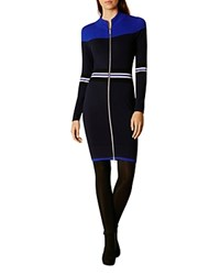 Karen Millen Sporty Zip Front Dress Blue Multi