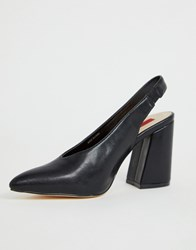London Rebel Sling Back Pointed Block Heels Black