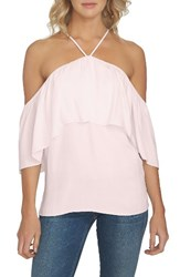 1.State Women's 1. State Halter Neck Ruffle Blouse Flora Pink