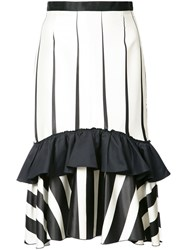 Tome Striped Frill Trim Skirt Women Silk Viscose Cotton 4 Black