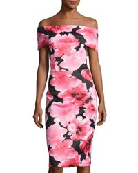 Neiman Marcus Off The Shoulder Rose Print Scuba Sheath Dress Pink Pattern