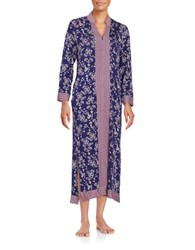 Oscar De La Renta Printed Zip Front Nightgown Blue