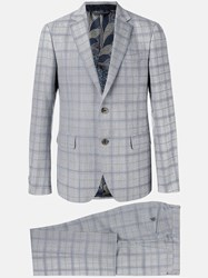 Etro Checked Formal Suit Grey