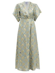 Thierry Colson Marieke Silk Floral Brocade Maxi Dress Blue