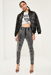 Missguided Grey Washed Zip Front Detail Casual Joggers