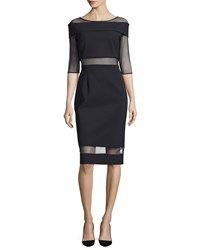 La Petite Robe Di Chiara Boni Cocotte Half Sleeve Illusion Cocktail Dress Size 6 Black