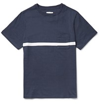 Saturdays Surf Nyc Randall Striped Cotton Jersey T Shirt Blue