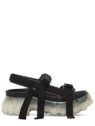 Rick Owens 60Mm Hiking Leather Sandals Black Transpare