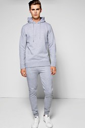 Boohoo Hooded Tracksuit With Zip Details Grey