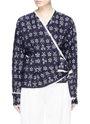 Ms Min Butterfly Floral Jacquard Ruched Wrap Jacket Multi Colour