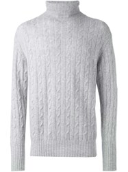 N.Peal Roll Neck Cable Knit Sweater Grey