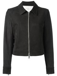 Golden Goose Deluxe Brand Cropped Leather Jacket Blue