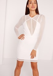 Missguided Long Sleeve Mesh Overlay Harness Dress White White