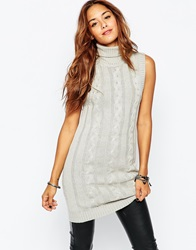Vila Cable Sleeveless Tunic Knit Lightgreymarl