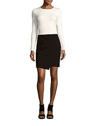 Saks Fifth Avenue Long Sleeve Colorblock Dress Black White