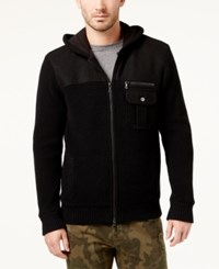 Inc International Concepts Men's Zip Front Hoodie With Faux Fur Lining Created For Macy's Deep Black