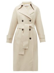 Harris Wharf London Double Breasted Pressed Wool Trench Coat Ivory