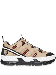 Burberry Monogram Motif Mesh And Leather Sneakers Neutrals