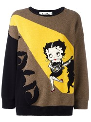 Jc De Castelbajac Vintage Betty Boop Intarsia Sweater Brown