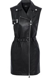 Versus By Versace Woman Belted Leather And Crepe Mini Dress Black